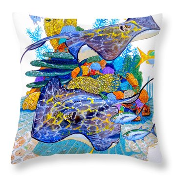 Stingray Play Throw Pillow by Carey Chen