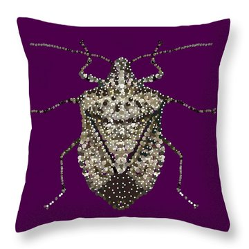 Throw Pillow featuring the digital art Stink Bug Bedazzled by R  Allen Swezey