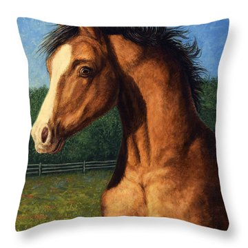 Throw Pillow featuring the painting Stir Crazy by James W Johnson