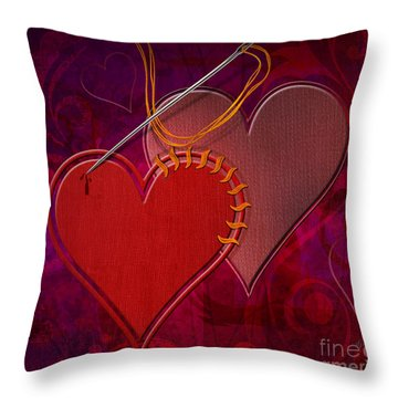 Stitched Hearts Throw Pillow by Bedros Awak