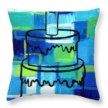 Stl250 Birthday Cake Blue And Green Abstract Throw Pillow