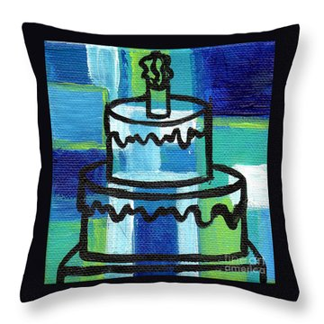 Stl250 Birthday Cake Blue And Green Small Abstract Throw Pillow by Genevieve Esson