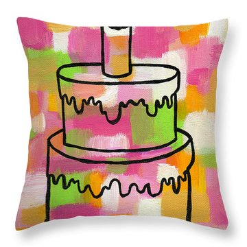 Stl250 Birthday Cake Pink And Green Abstract Throw Pillow