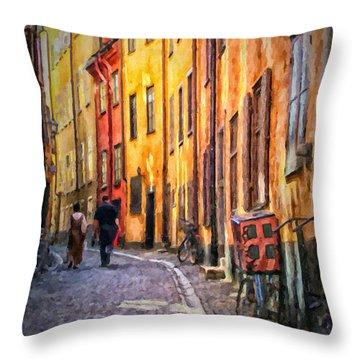 Stockholm Gamla Stan Painting Throw Pillow
