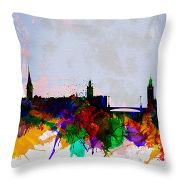 Stockholm Watercolor Skyline Throw Pillow