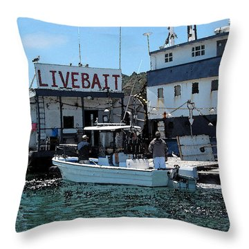 Stocking Up On Live Bait Throw Pillow by Cedric Hampton