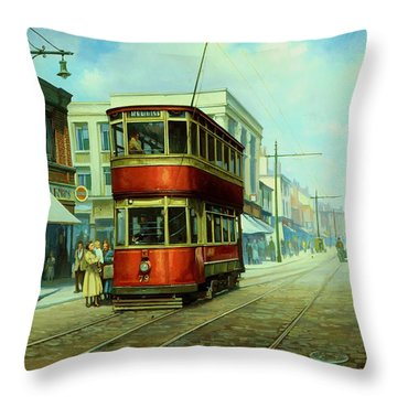 Stockport Tram. Throw Pillow by Mike  Jeffries