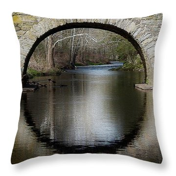 Stone Arch Bridge - Craquelure Texture Throw Pillow