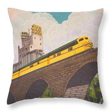 Throw Pillow featuring the painting Stone Arch Bridge by Jude Labuszewski