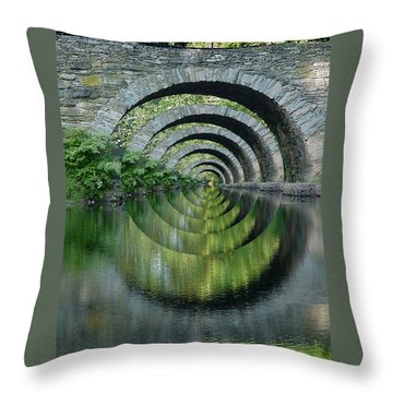 Stone Arch Bridge Over Troubled Waters - 1st Place Winner Faa Optical Illusions 2-26-2012 Throw Pillow by EricaMaxine  Price