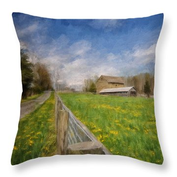 Stone Barn On A Spring Morning Throw Pillow