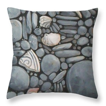 Stone Beach Keepsake Rocky Beach Shells And Stones Throw Pillow by Mary Hubley