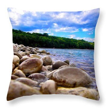 Stone Beach Throw Pillow by Zafer Gurel