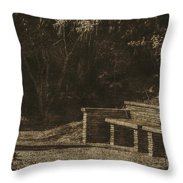 Stone Bench Throw Pillow