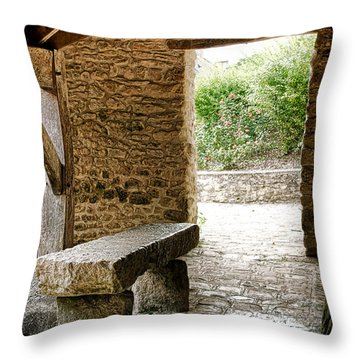 Stone Bench Throw Pillow by Olivier Le Queinec