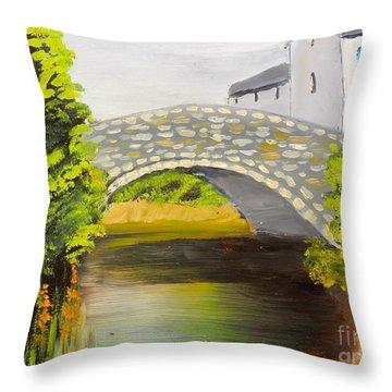 Stone Bridge At Burrowford Uk Throw Pillow
