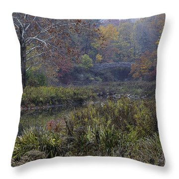 Stone Bridge In Autumn I Throw Pillow