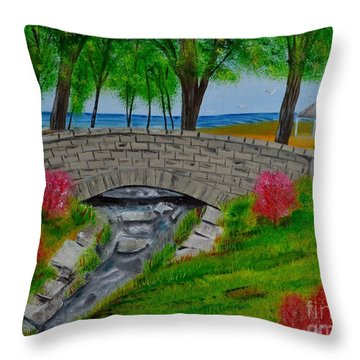 Throw Pillow featuring the painting Stone Bridge by Melvin Turner