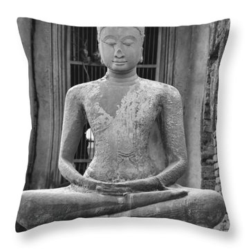 Stone Buddha Throw Pillow by Adam Romanowicz