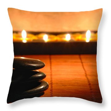 Stone Cairn And Candles For Quiet Meditation Throw Pillow by Olivier Le Queinec