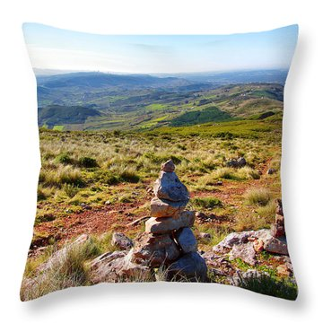 Stone Cairns Throw Pillow by Carlos Caetano