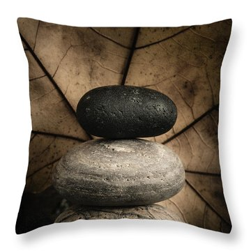 Stone Cairns II Throw Pillow by Marco Oliveira