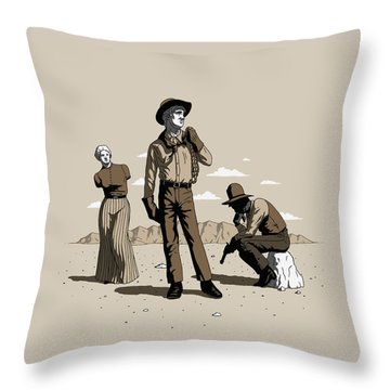 Stone-cold Western Throw Pillow