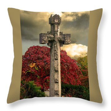 Throw Pillow featuring the photograph Stone Cross In Fall Garden by Lesa Fine