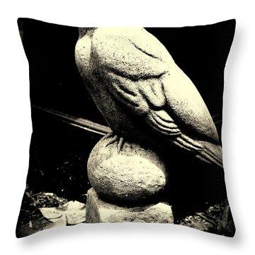 Stone Crow On Stone Ball Throw Pillow