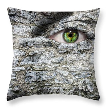 Stone Face Throw Pillow by Semmick Photo