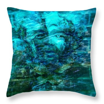 Stone Face Under The Water Throw Pillow by Lilia D