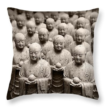 Stone Figures Of Jizo Throw Pillow