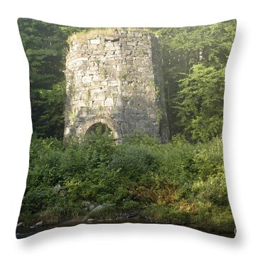 Stone Iron Furnace - Franconia New Hampshire Throw Pillow by Erin Paul Donovan