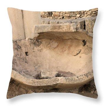 Stone Jar At Temple Of Apollo Throw Pillow by Augusta Stylianou