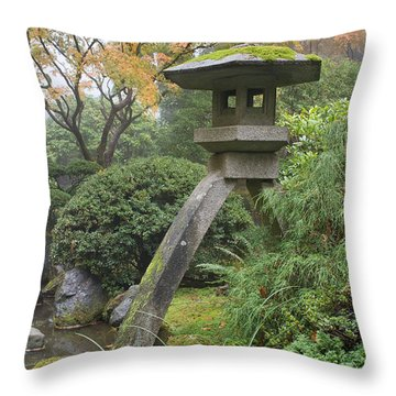 Throw Pillow featuring the photograph Stone Lantern In Japanese Garden by JPLDesigns