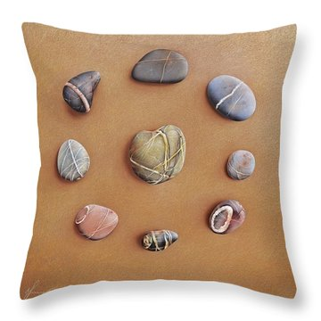 Throw Pillow featuring the drawing Stone Letters by Elena Kolotusha