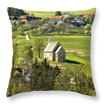 Stone Made Church In Green Nature Throw Pillow by Brch Photography