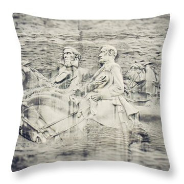 Stone Mountain Georgia Confederate Carving Throw Pillow by Lisa Russo