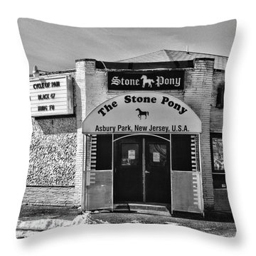 Stone Pony In Black And White Throw Pillow by Paul Ward