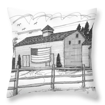 Stone Ridge Barn With Flag Throw Pillow