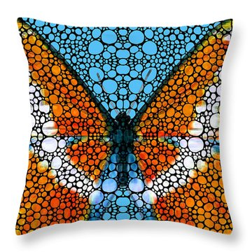 Stone Rock'd Butterfly By Sharon Cummings Throw Pillow by Sharon Cummings