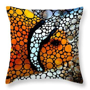 Stone Rock'd Clown Fish By Sharon Cummings Throw Pillow