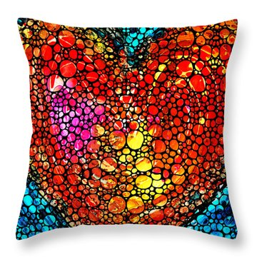 Stone Rock'd Heart - Colorful Love From Sharon Cummings Throw Pillow by Sharon Cummings