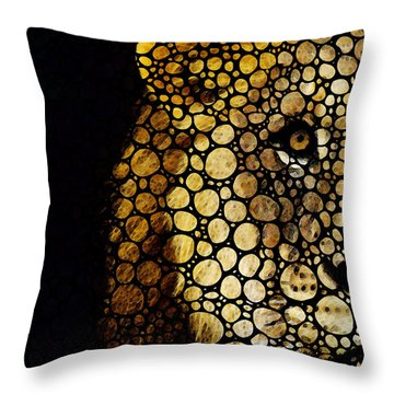 Stone Rock'd Lion - Sharon Cummings Throw Pillow by Sharon Cummings