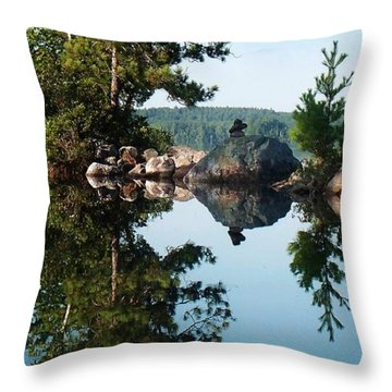 Stone Stacking Throw Pillow by Joy Nichols