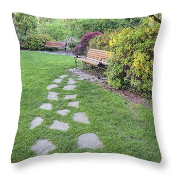 Stone Steps To Park Bench Throw Pillow