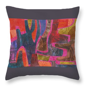 Throw Pillow featuring the mixed media Stone Tree Sunrise by Catherine Redmayne