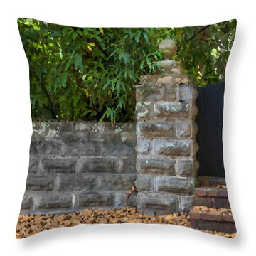 Stone Wall And Gate Throw Pillow by Rich Franco
