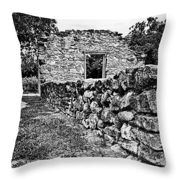 Stone Wall At Mission Espada Throw Pillow by Andy Crawford