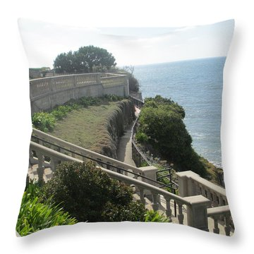Stone Wall Over The Sea Throw Pillow
